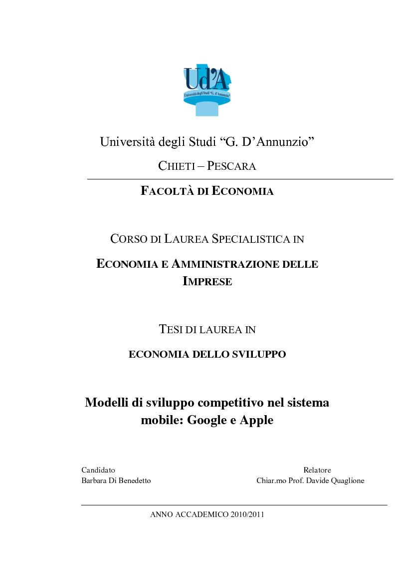 Anteprima della tesi: Modelli di sviluppo competitivo nel sistema mobile: Google vs Apple, Pagina 1