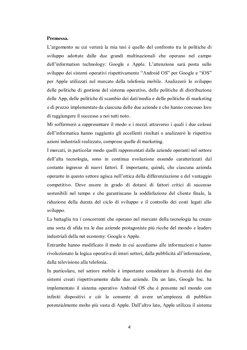 Anteprima della tesi: Modelli di sviluppo competitivo nel sistema mobile: Google vs Apple, Pagina 2