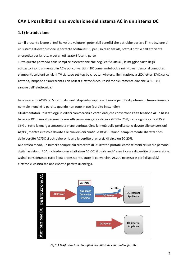 Anteprima della tesi: Sistemi in corrente continua (DC) per la razionalizzazione energetica. Studio di fattibilità per un sistema integrato di distribuzione DC ad uso residenziale (Microgrid House DC), Pagina 3