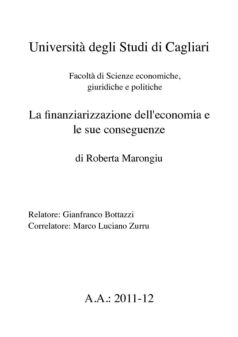 Anteprima della tesi: La finanziarizzazione dell'economia e le sue conseguenze, Pagina 1