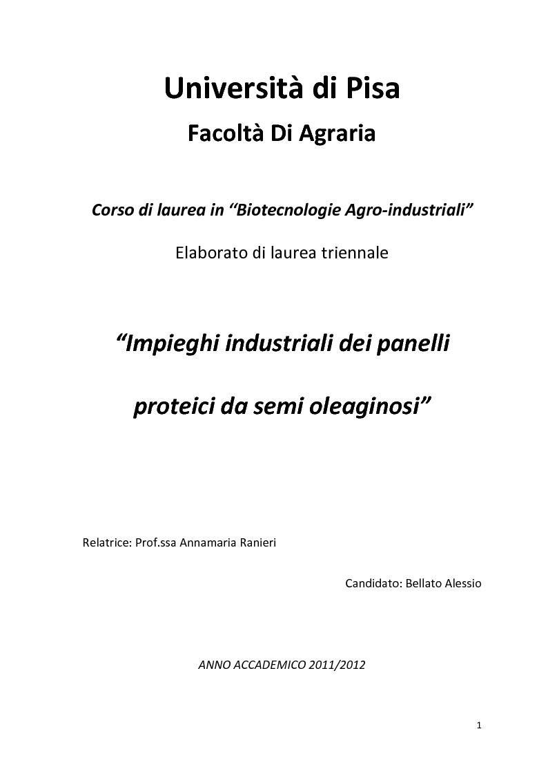 Anteprima della tesi: Impiego industriale dei panelli proteici derivanti da semi oleaginosi, Pagina 1