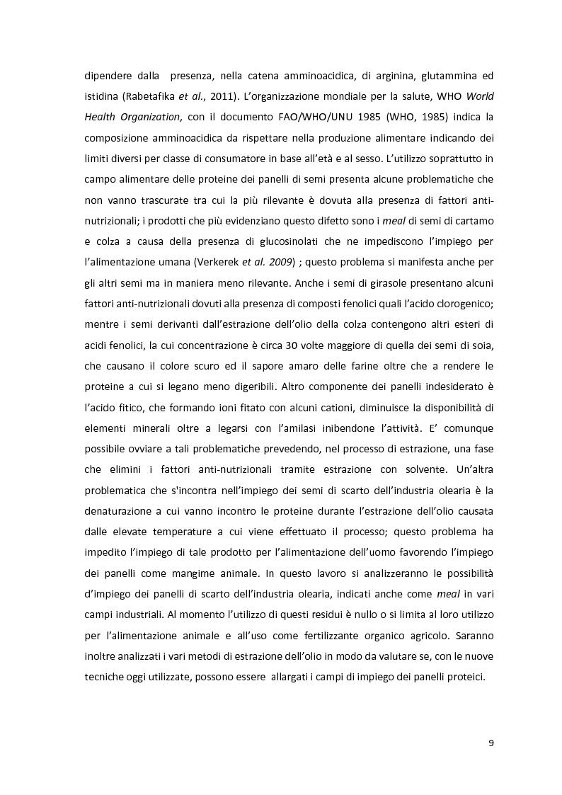 Anteprima della tesi: Impiego industriale dei panelli proteici derivanti da semi oleaginosi, Pagina 5