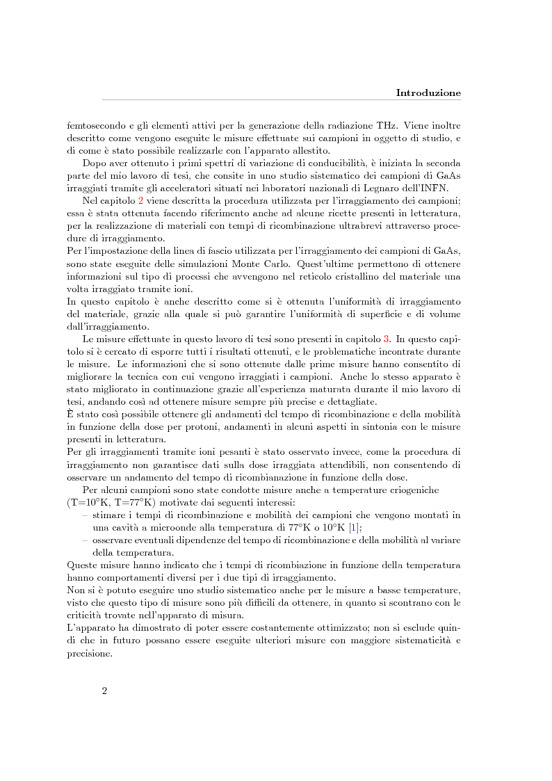 Anteprima della tesi: Sviluppo di un apparato di spettroscopia terahertz nel dominio del tempo per lo studio di campioni di GaAs irraggiati con ioni Bromo e Protoni, Pagina 3