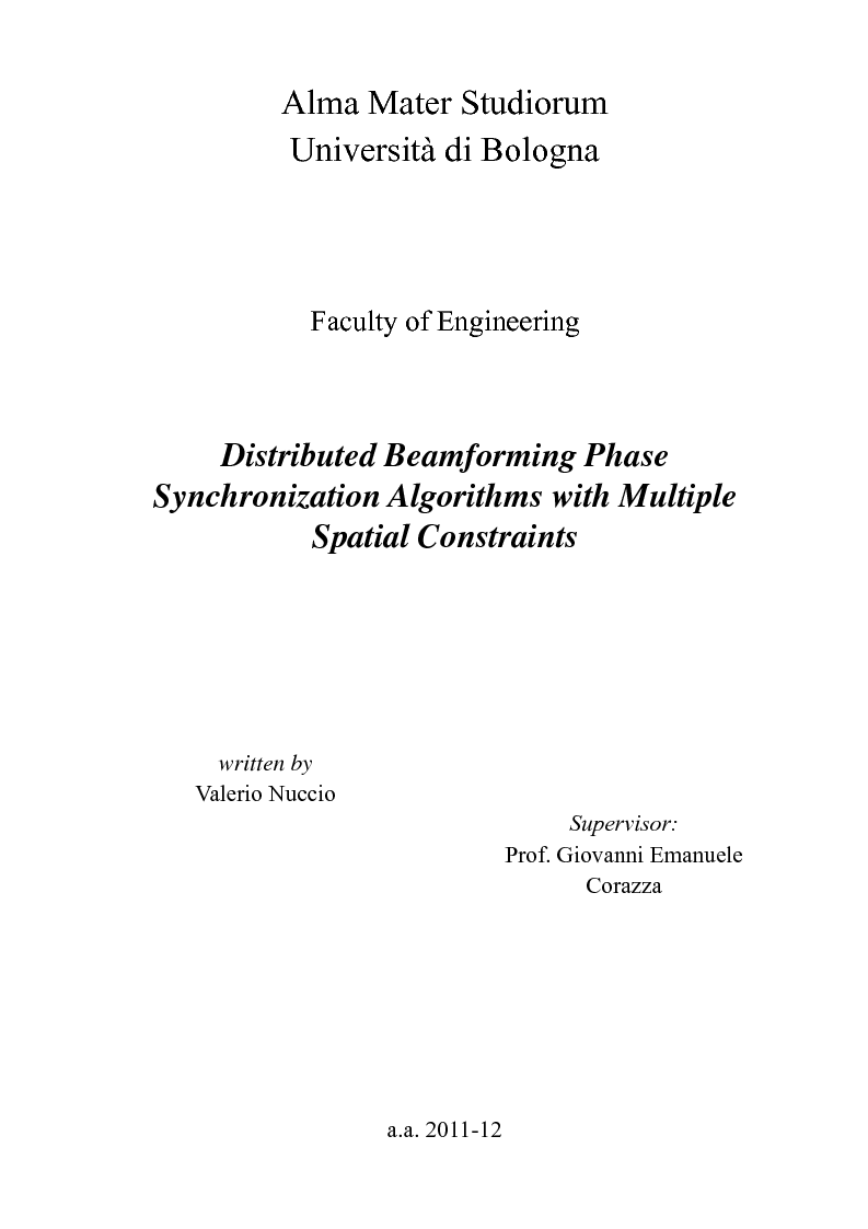 Anteprima della tesi: Distributed Beamforming Phase Synchronization Algorithms with multiple spatial constraints, Pagina 1