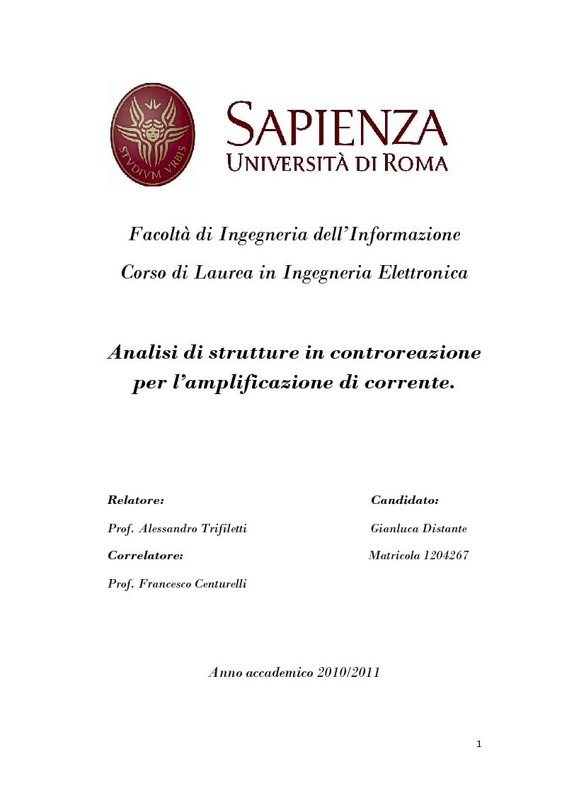 Anteprima della tesi: Analisi di strutture in controreazione per l'amplificazione di corrente, Pagina 1