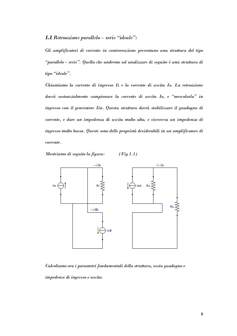 Anteprima della tesi: Analisi di strutture in controreazione per l'amplificazione di corrente, Pagina 6