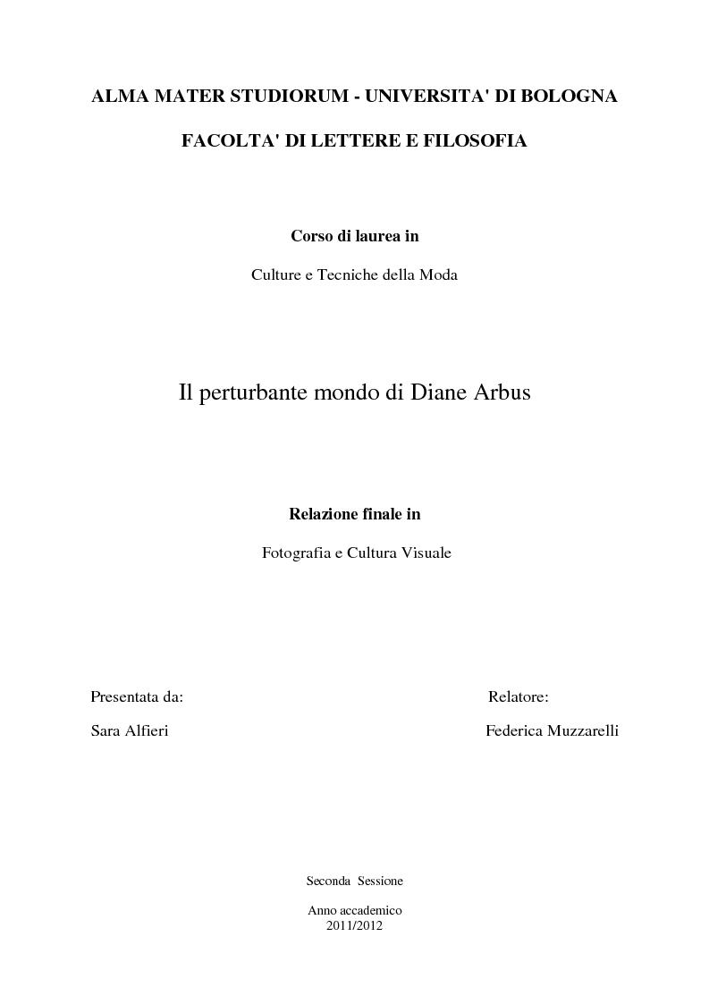 Anteprima della tesi: Il perturbante mondo di Diane Arbus, Pagina 1