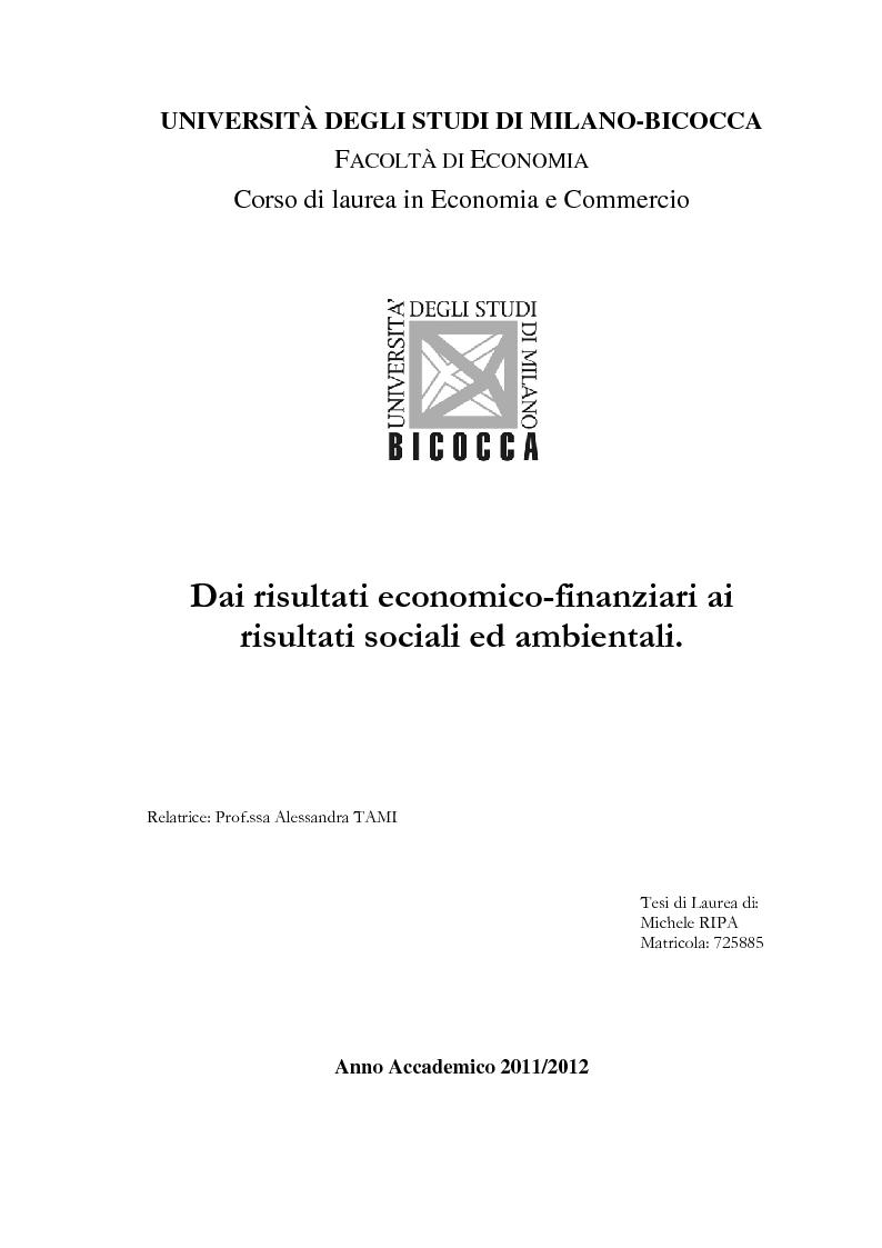 Anteprima della tesi: Dai risultati economico-finanziari ai risultati sociali ed ambientali, Pagina 1