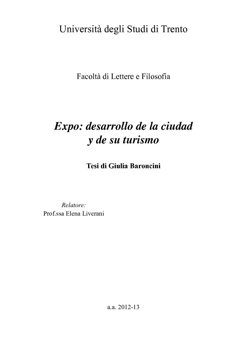 Anteprima della tesi: Expo: desarrollo de la ciudad y de su turismo, Pagina 1