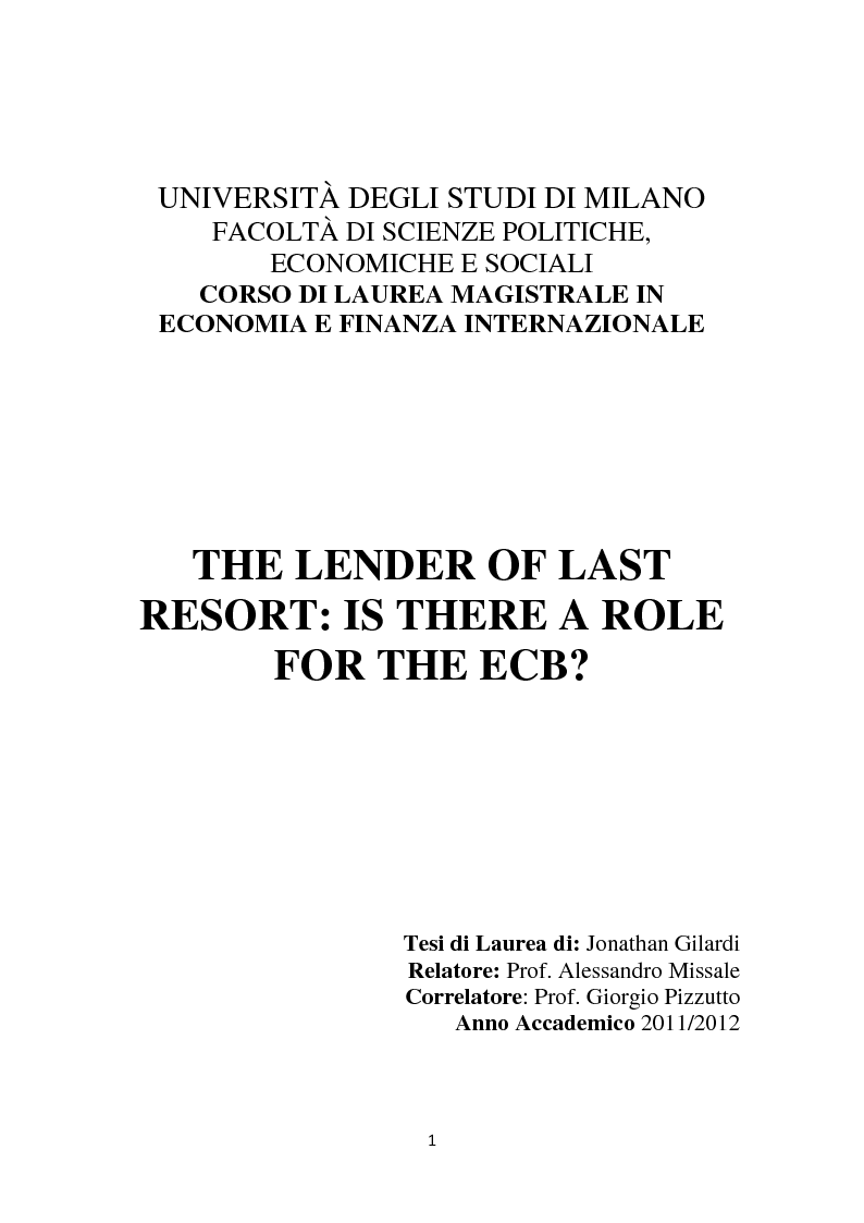 Anteprima della tesi: The Lender of Last Resort: Is There a Role for the ECB?, Pagina 1