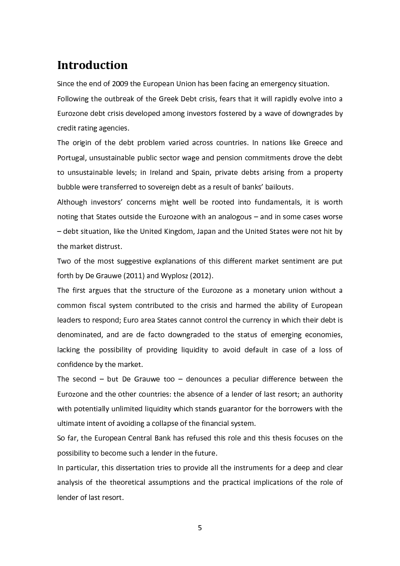 Anteprima della tesi: The Lender of Last Resort: Is There a Role for the ECB?, Pagina 2