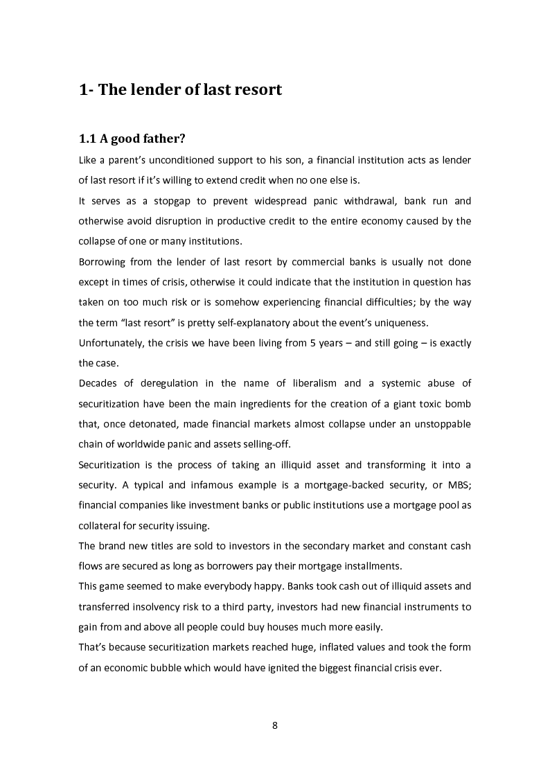 Anteprima della tesi: The Lender of Last Resort: Is There a Role for the ECB?, Pagina 5