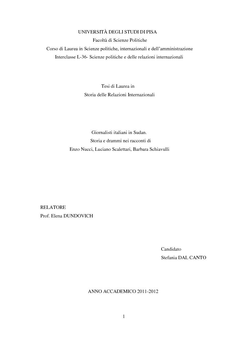 Anteprima della tesi: Giornalisti italiani in Sudan. Storia e drammi nei racconti di Enzo Nucci, Luciano Scalettari, Barbara Schiavulli, Pagina 1