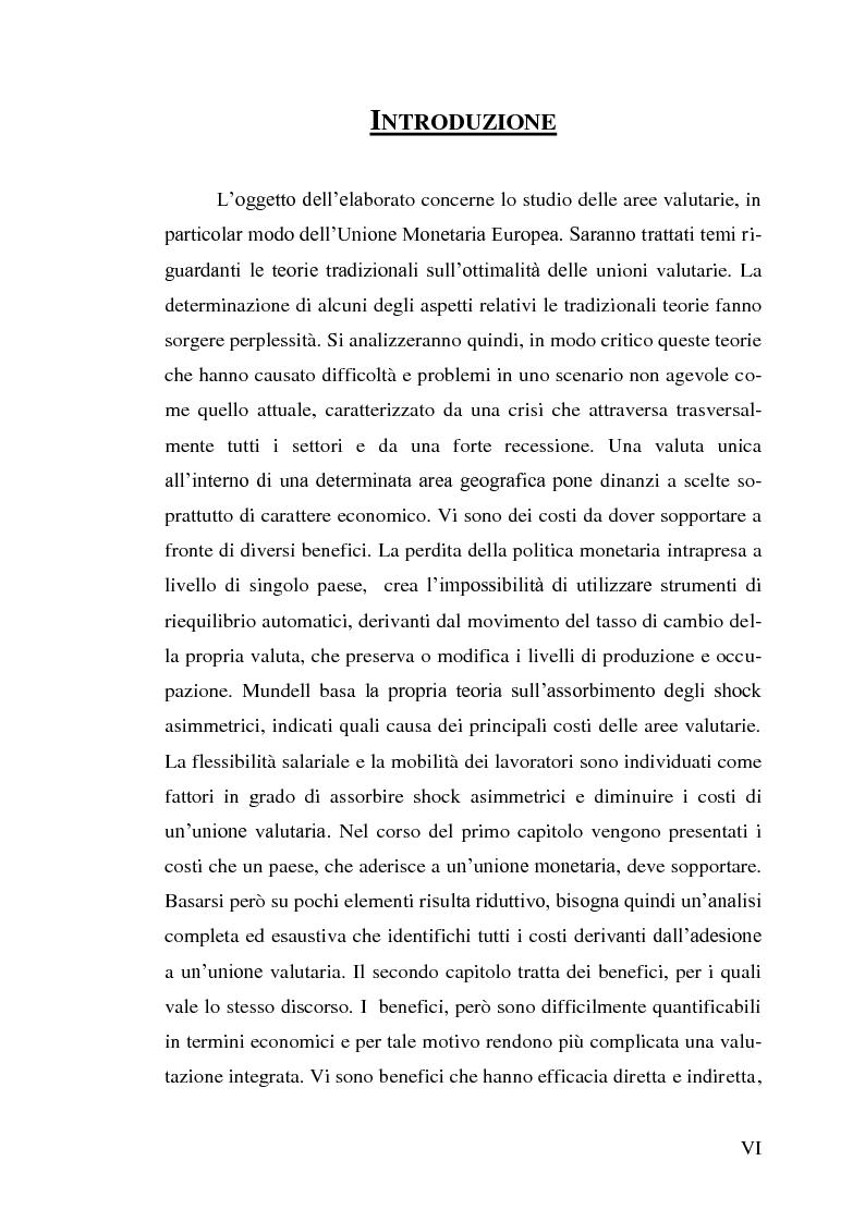 Anteprima della tesi: Le aree valutarie ottimali. Il caso UME: critiche ai criteri di Mundell, trilemmi europei di politica economica, Pagina 2