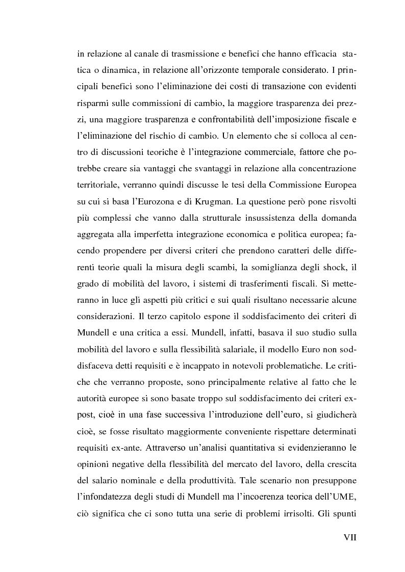 Anteprima della tesi: Le aree valutarie ottimali. Il caso UME: critiche ai criteri di Mundell, trilemmi europei di politica economica, Pagina 3