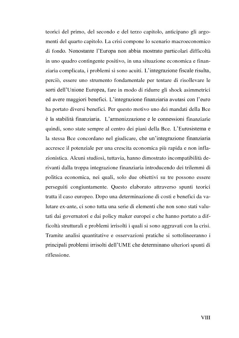 Anteprima della tesi: Le aree valutarie ottimali. Il caso UME: critiche ai criteri di Mundell, trilemmi europei di politica economica, Pagina 4