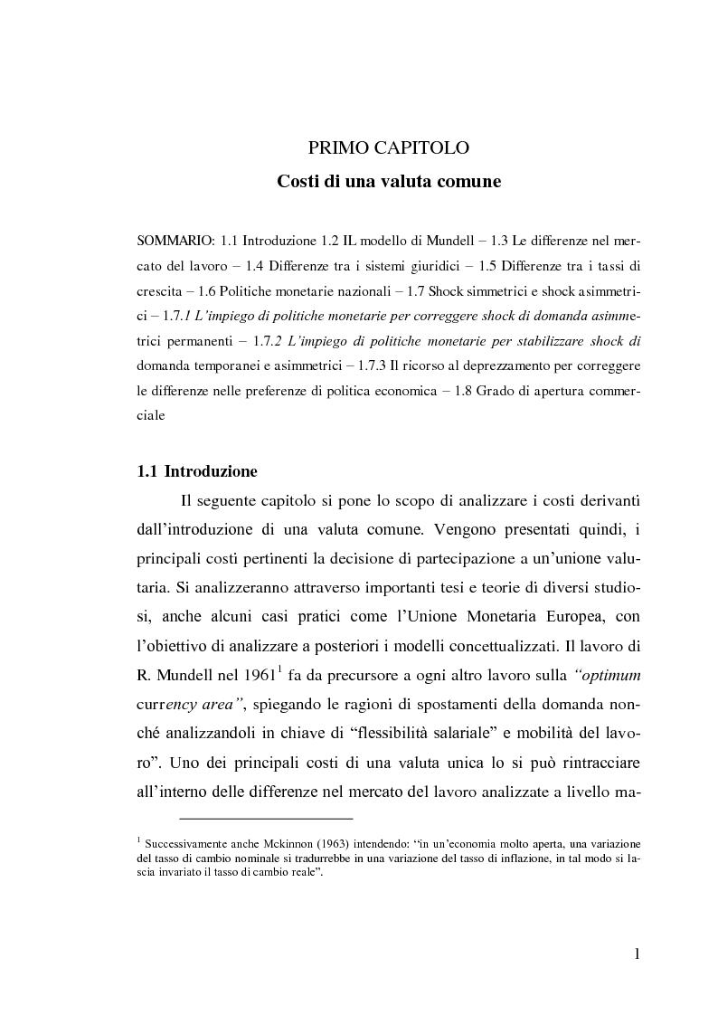 Anteprima della tesi: Le aree valutarie ottimali. Il caso UME: critiche ai criteri di Mundell, trilemmi europei di politica economica, Pagina 5