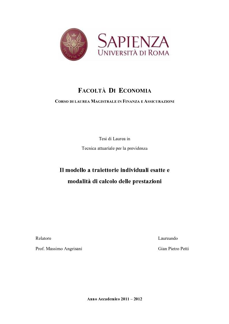 Anteprima della tesi: Il modello a traiettorie individuali esatte e modalità di calcolo delle prestazioni, Pagina 1