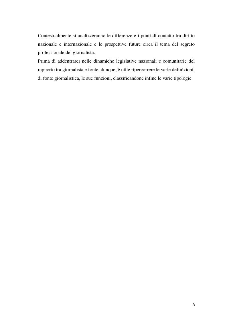 Anteprima della tesi: Il segreto professionale del giornalista: storia e casi di un diritto equivoco, Pagina 5