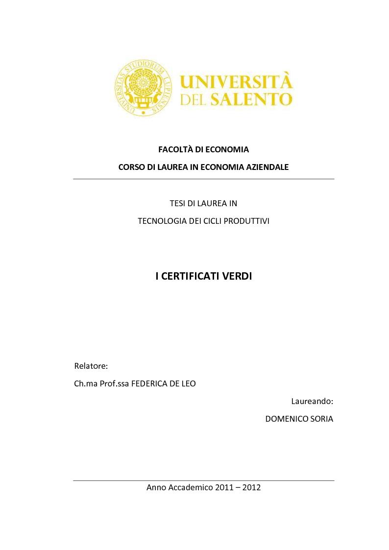 Anteprima della tesi: I Certificati Verdi, Pagina 1