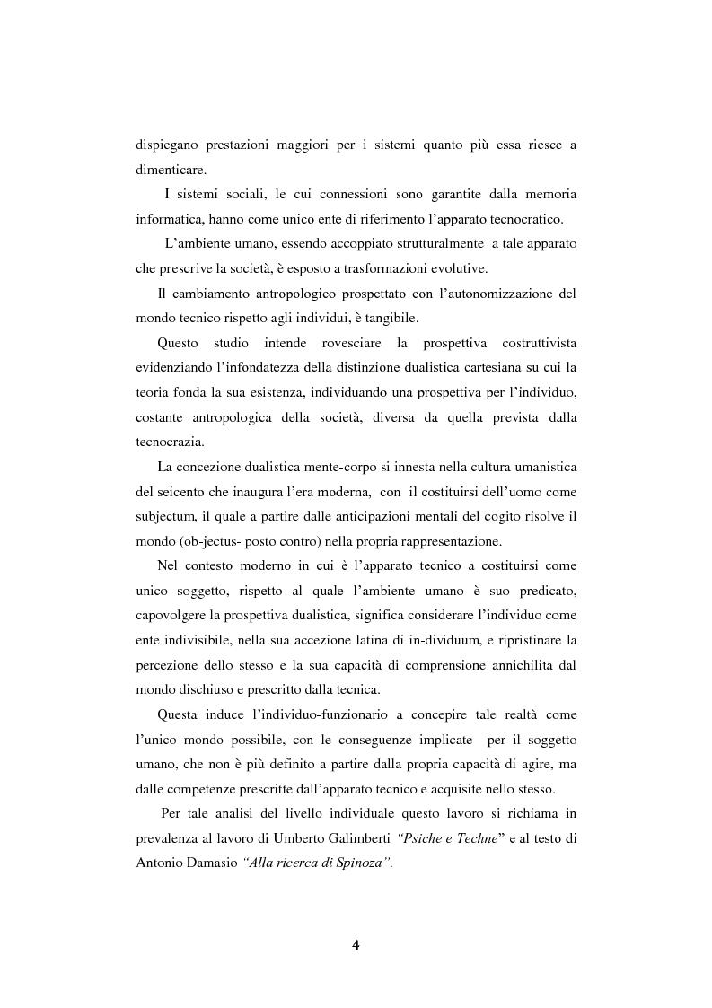 Anteprima della tesi: Fra ricordo e dimenticanza. Problemi e prospettive della corporeità nell'era della tecnica., Pagina 3