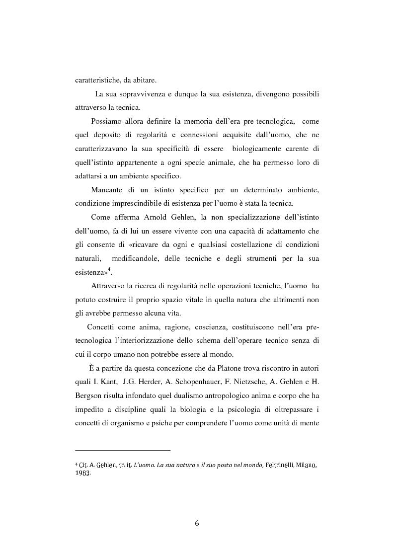 Anteprima della tesi: Fra ricordo e dimenticanza. Problemi e prospettive della corporeità nell'era della tecnica., Pagina 5