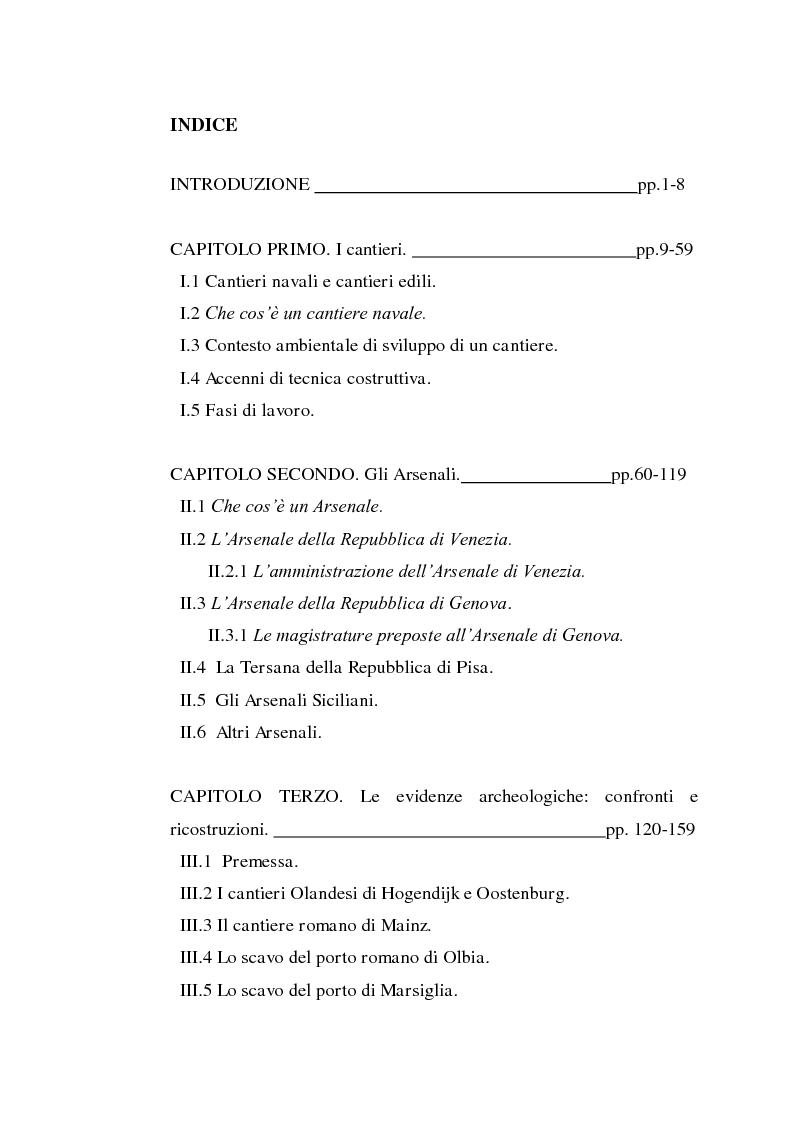 Indice della tesi: Il cantiere navale medievale nel Mediterraneo: un problema archeologico, Pagina 1