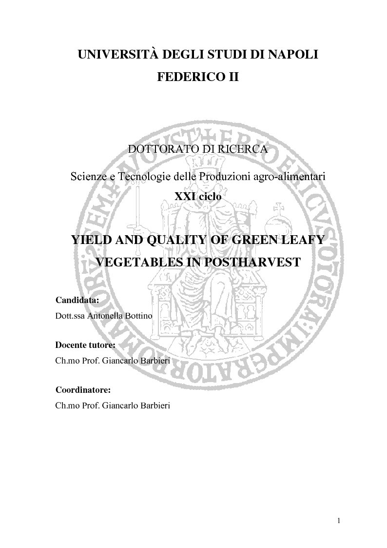Anteprima della tesi: Yield and Quality of Green Leafy Vegetables in Postharvest, Pagina 1
