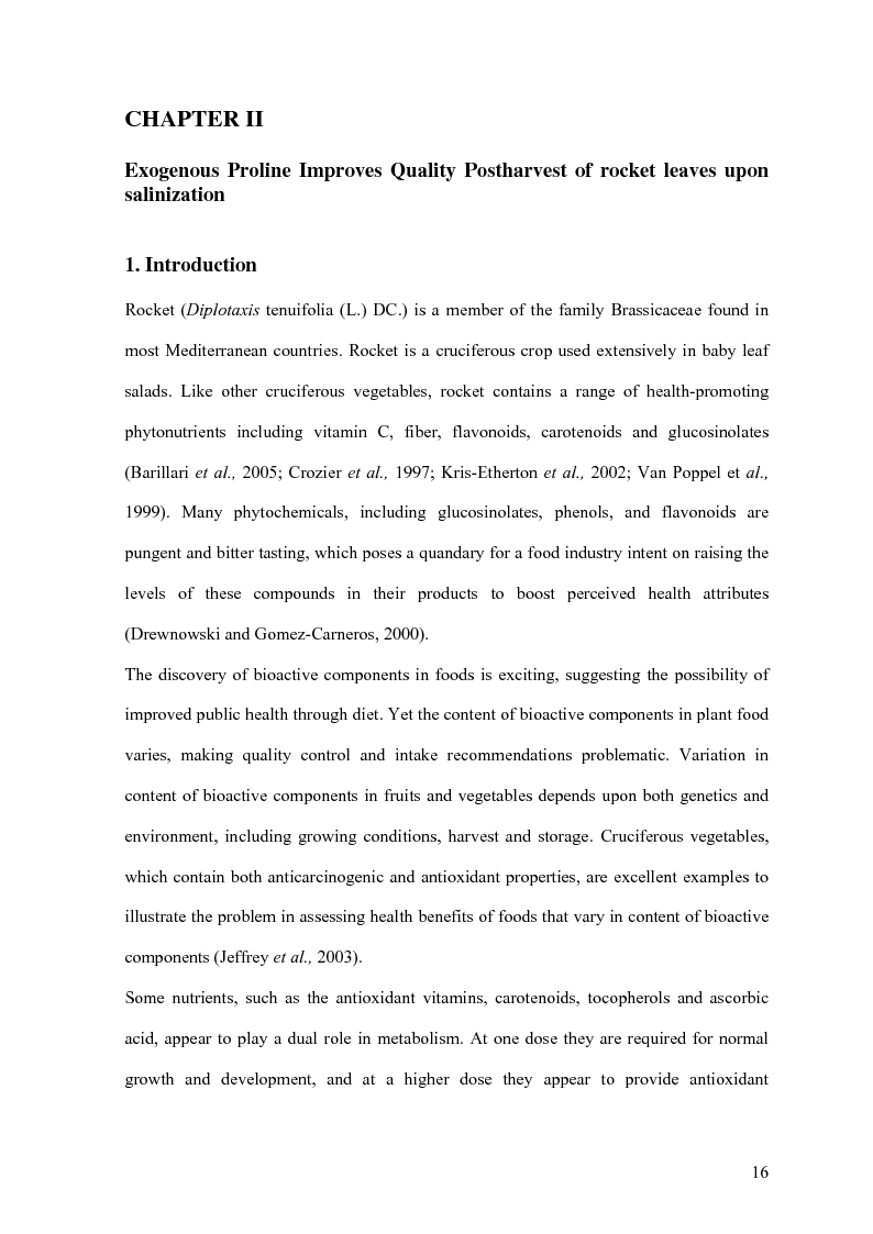 Anteprima della tesi: Yield and Quality of Green Leafy Vegetables in Postharvest, Pagina 2