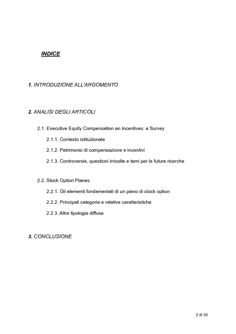 Indice della tesi: L'incentivazione del Management attraverso strumenti a base azionaria , Pagina 1