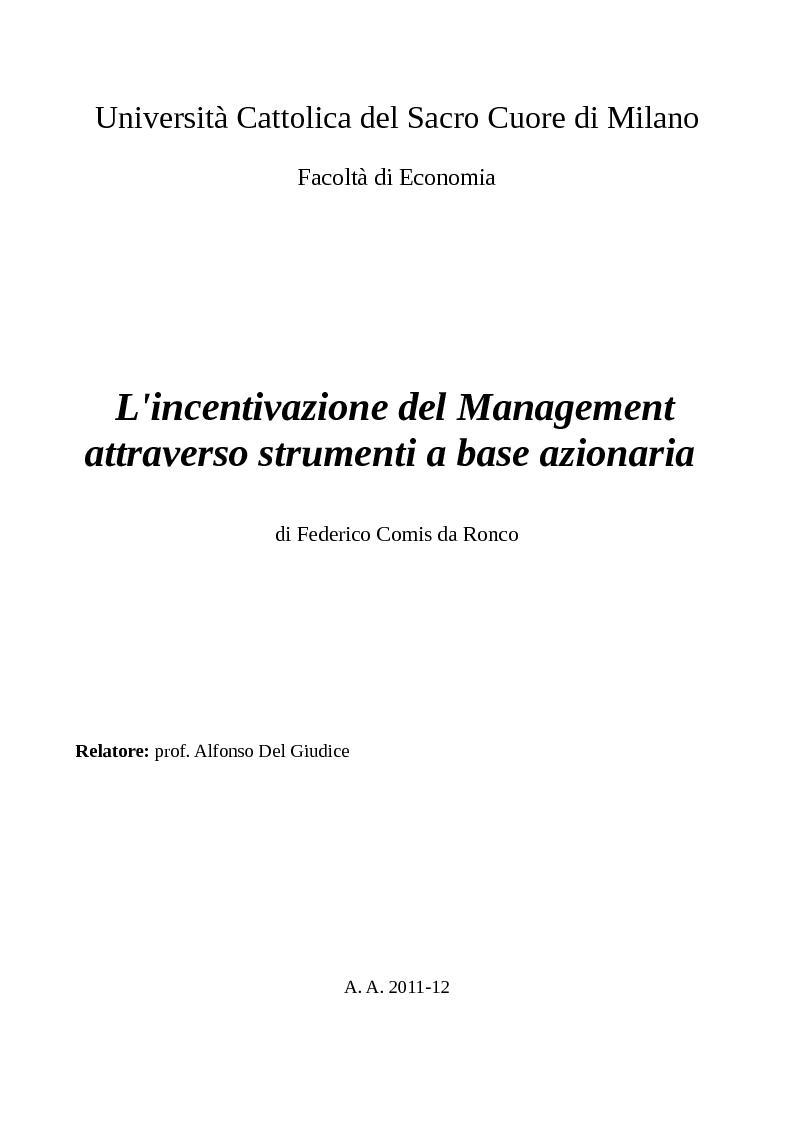 Anteprima della tesi: L'incentivazione del Management attraverso strumenti a base azionaria , Pagina 1