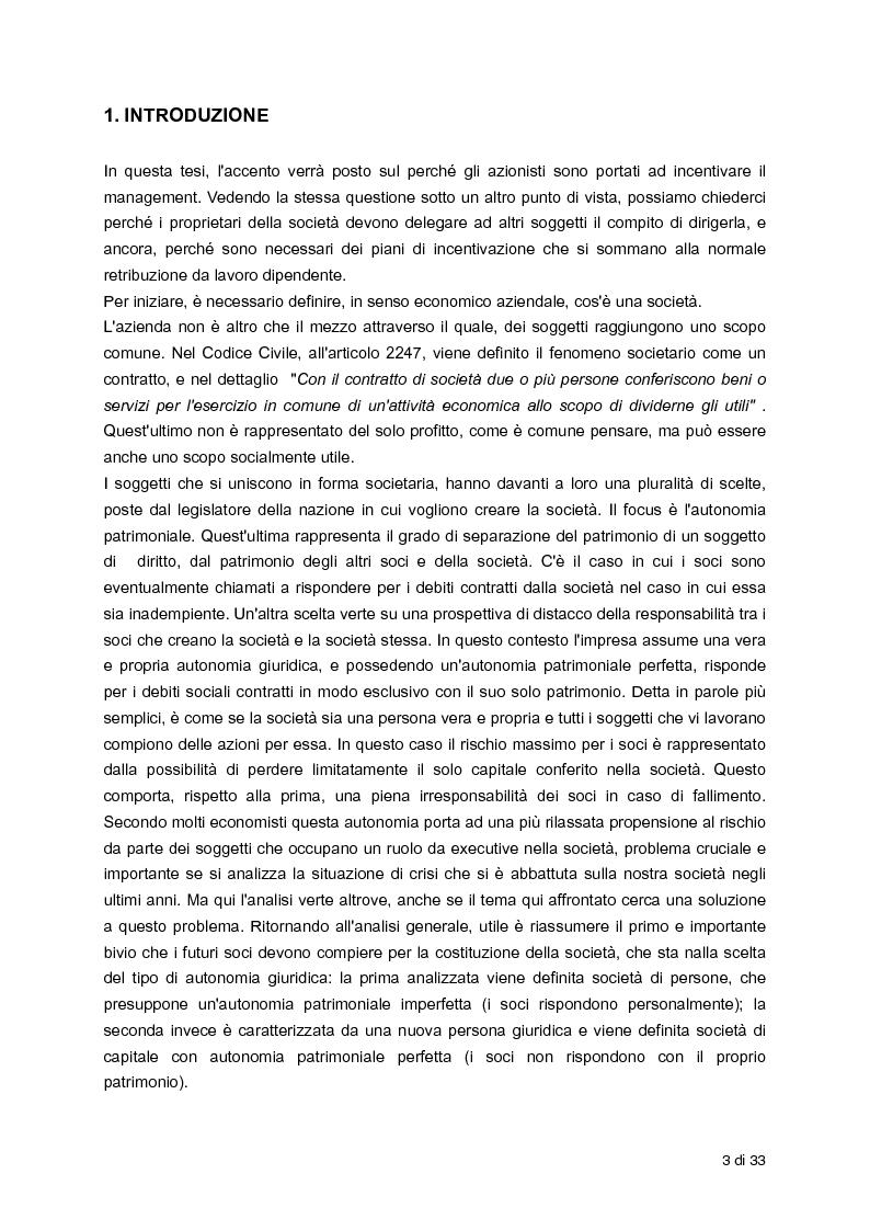Anteprima della tesi: L'incentivazione del Management attraverso strumenti a base azionaria , Pagina 2