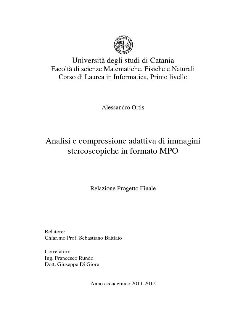 Anteprima della tesi: Analisi e compressione adattiva di immagini stereoscopiche in formato MPO, Pagina 1