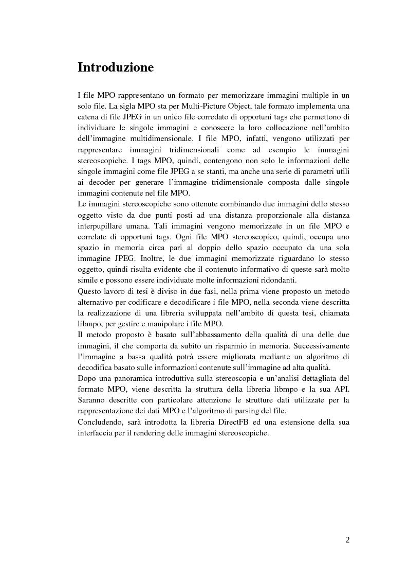Analisi e compressione adattiva di immagini stereoscopiche in formato MPO - Tesi di Laurea