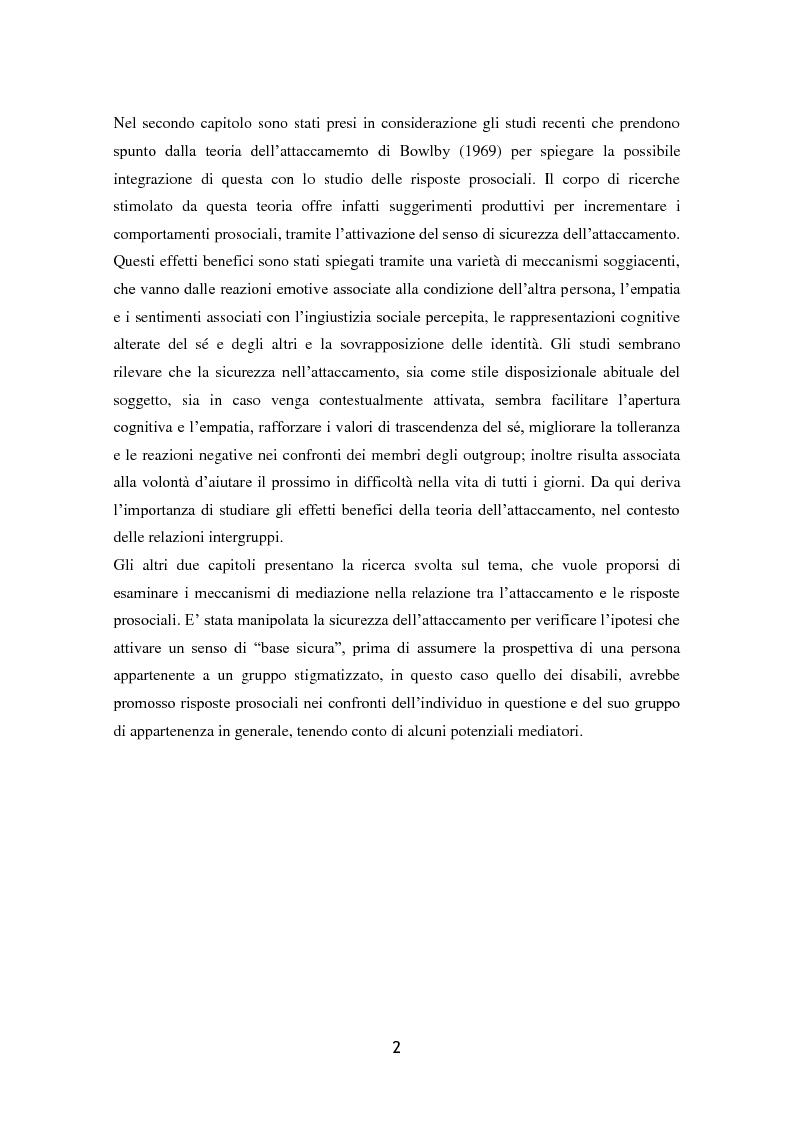 Anteprima della tesi: L'influenza dell'attaccamento su empatia, atteggiamenti e propensione all'aiuto, Pagina 3