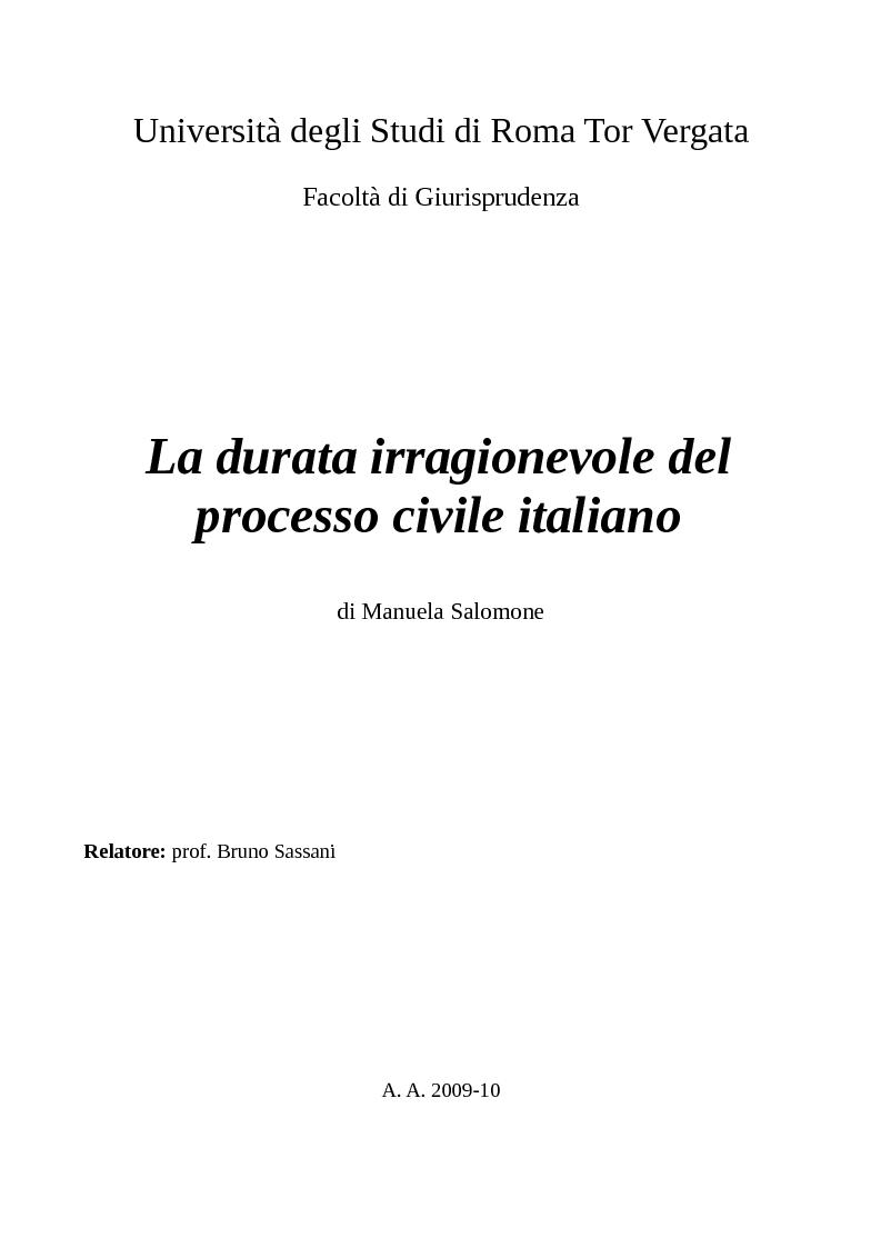Anteprima della tesi: La durata irragionevole del processo civile italiano, Pagina 1