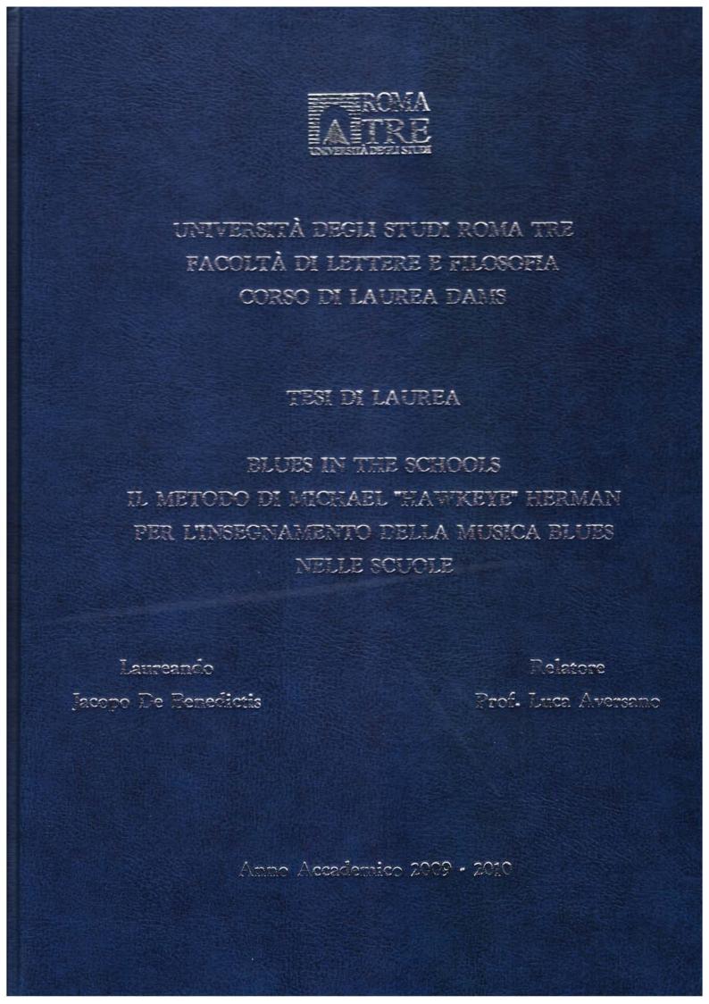 """Anteprima della tesi:  """"Blues in the Schools""""  Il metodo di Michael """"Hawkeye"""" Herman per l'insegnamento della musica Blues nelle scuole , Pagina 1"""