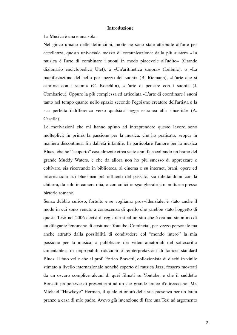 """Anteprima della tesi:  """"Blues in the Schools""""  Il metodo di Michael """"Hawkeye"""" Herman per l'insegnamento della musica Blues nelle scuole , Pagina 2"""
