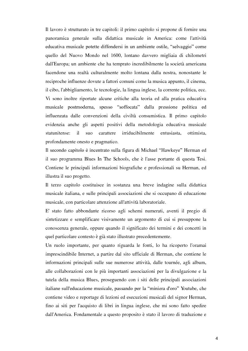 """Anteprima della tesi:  """"Blues in the Schools""""  Il metodo di Michael """"Hawkeye"""" Herman per l'insegnamento della musica Blues nelle scuole , Pagina 4"""
