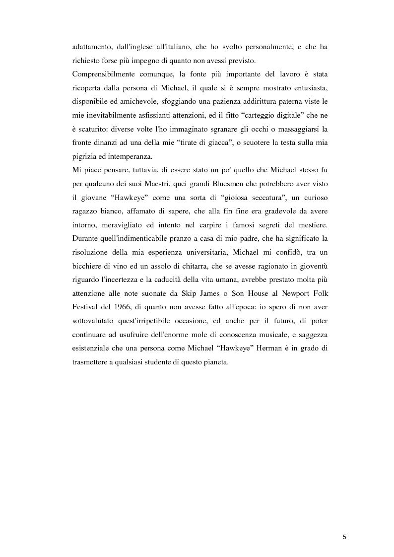 """Anteprima della tesi:  """"Blues in the Schools""""  Il metodo di Michael """"Hawkeye"""" Herman per l'insegnamento della musica Blues nelle scuole , Pagina 5"""