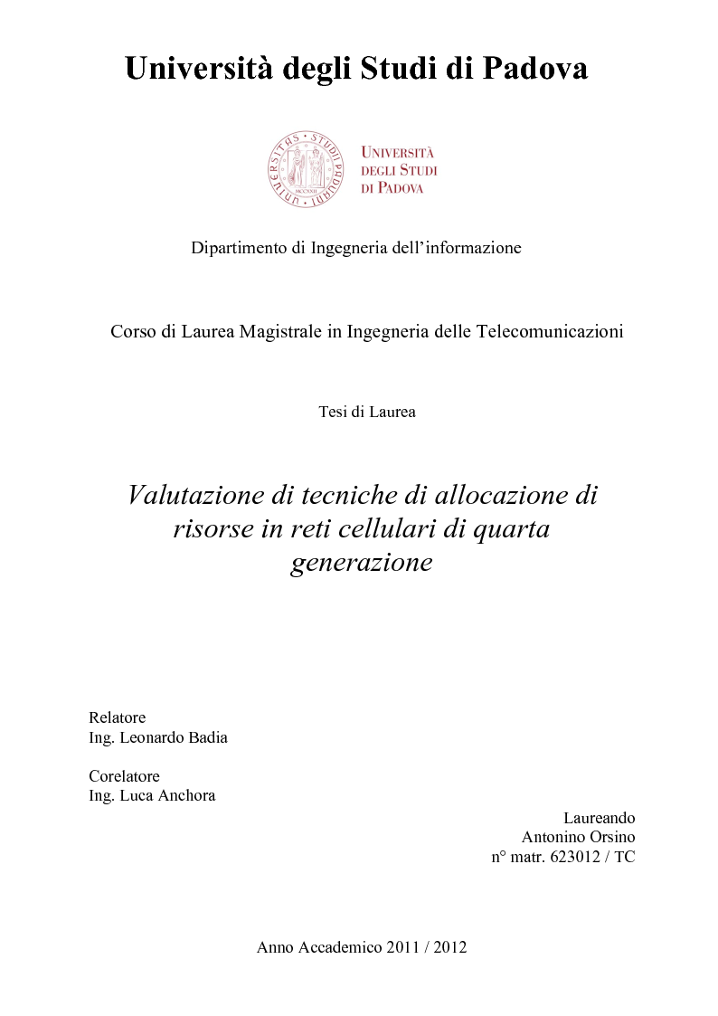 Anteprima della tesi: Valutazione di tecniche di allocazione di risorse in reti cellulari di quarta generazione, Pagina 1