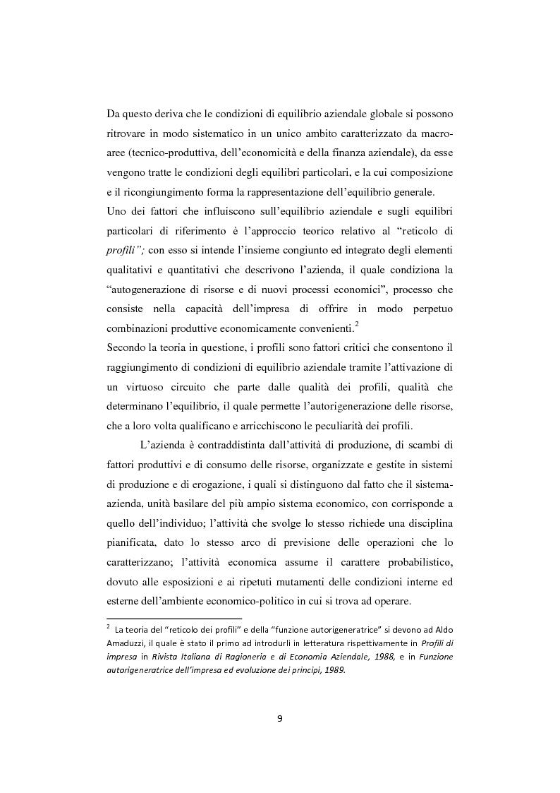 Anteprima della tesi: Gli equilibri nelle aziende turistiche: il caso delle imprese ricettive-alberghiere e dei tour operators, Pagina 6