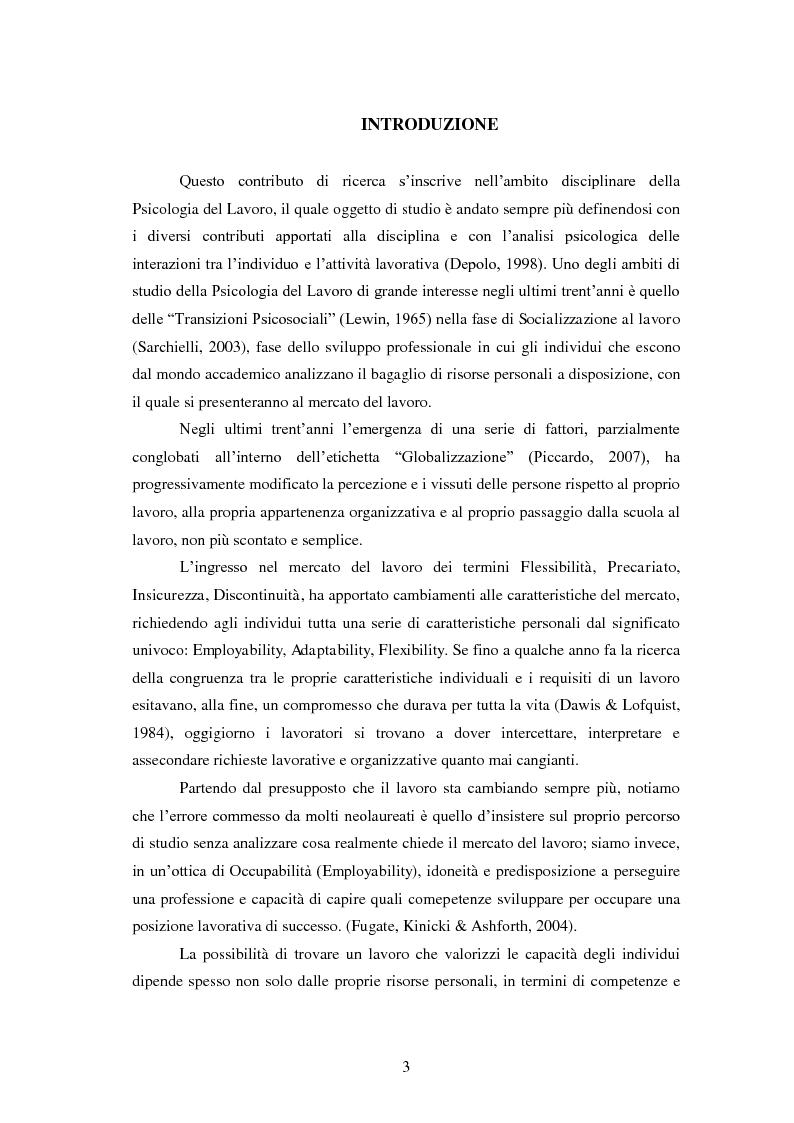 Anteprima della tesi: Employability: una risorsa individuale per l'occupazione. Uno studio esplorativo sulla relazione tra Employability e Caratteristiche del Sé., Pagina 2