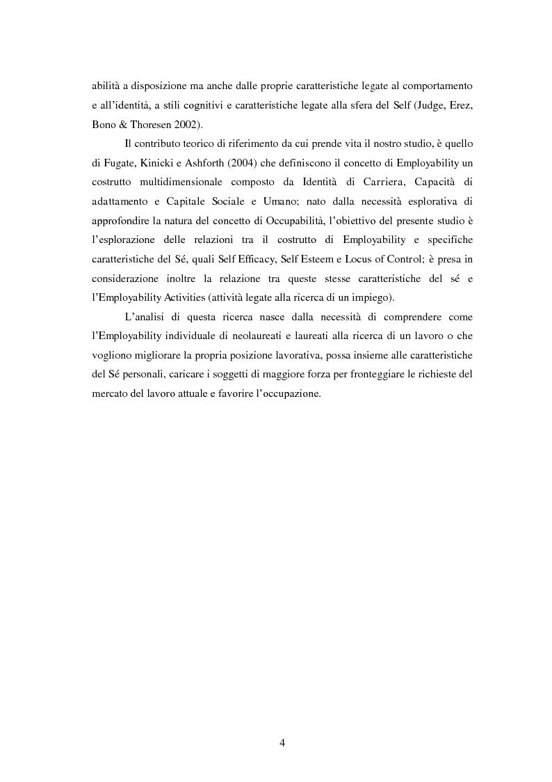 Anteprima della tesi: Employability: una risorsa individuale per l'occupazione. Uno studio esplorativo sulla relazione tra Employability e Caratteristiche del Sé., Pagina 3
