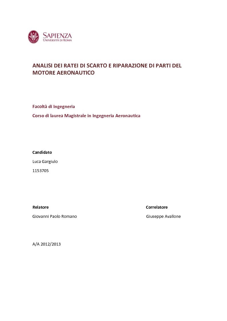 Anteprima della tesi: Analisi dei ratei di scarto e riparazione di parti del motore aeronautico, Pagina 1