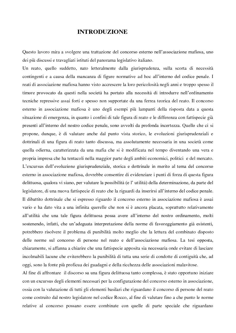 Il concorso esterno nell'associazione mafiosa: origini, ipotesi criminologiche e aspetti di attualit�. - Tesi di Laurea