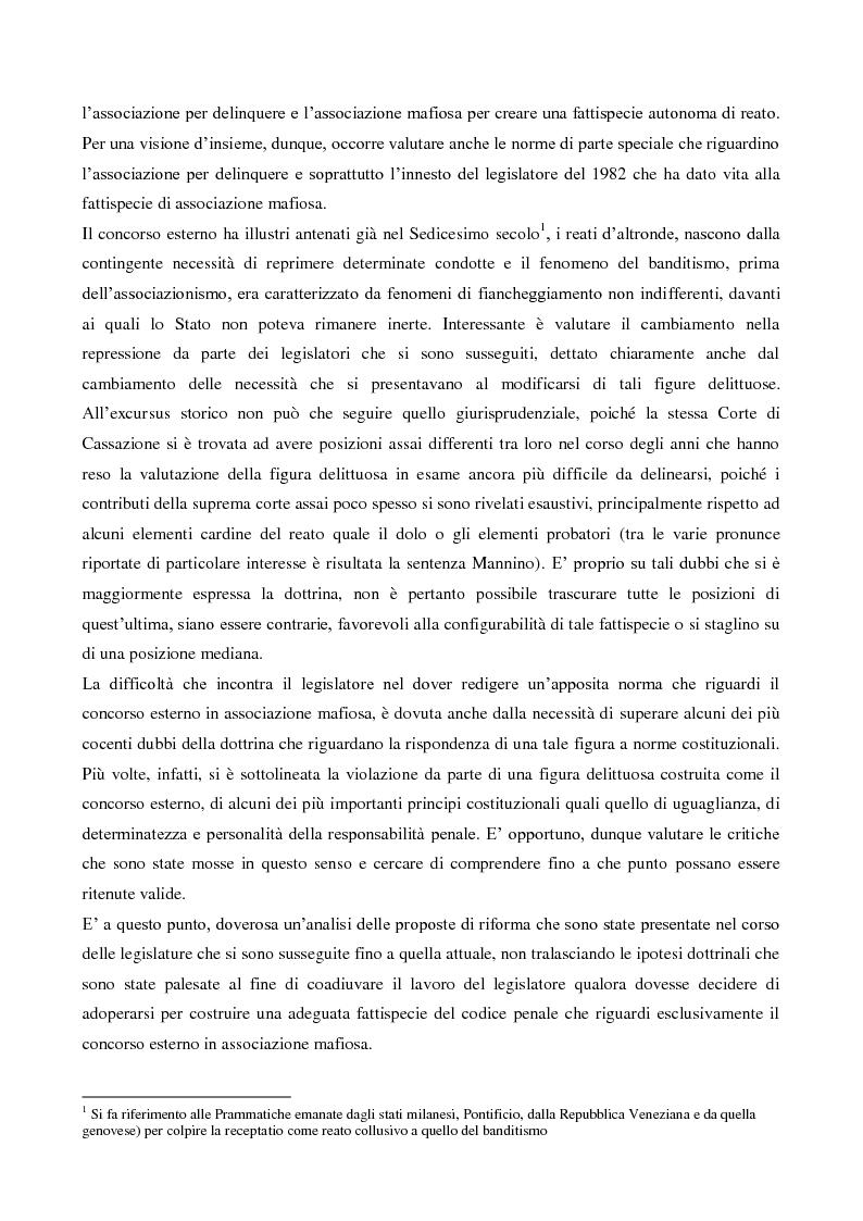 Anteprima della tesi: Il concorso esterno nell'associazione mafiosa: origini, ipotesi criminologiche e aspetti di attualità., Pagina 3