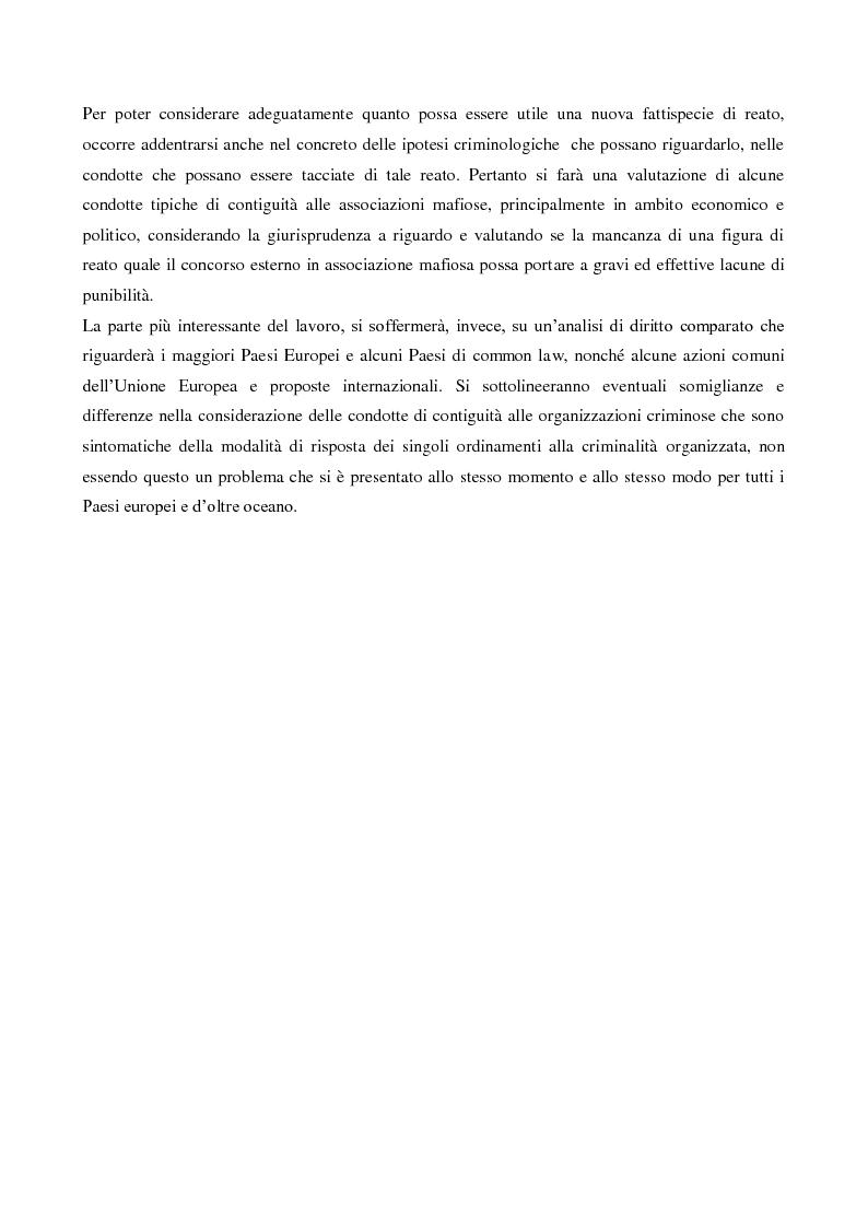 Anteprima della tesi: Il concorso esterno nell'associazione mafiosa: origini, ipotesi criminologiche e aspetti di attualità., Pagina 4