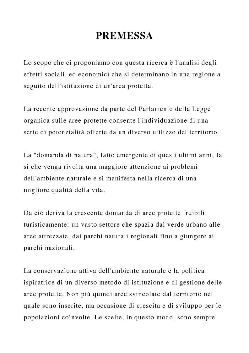 Anteprima della tesi: Aspetti geografico-economici della conservazione attiva dell'ambiente naturale: l'esperienza del Parco nazionale d'Abruzzo, un accostamento tra tutela dell'ambiente e sviluppo, Pagina 1