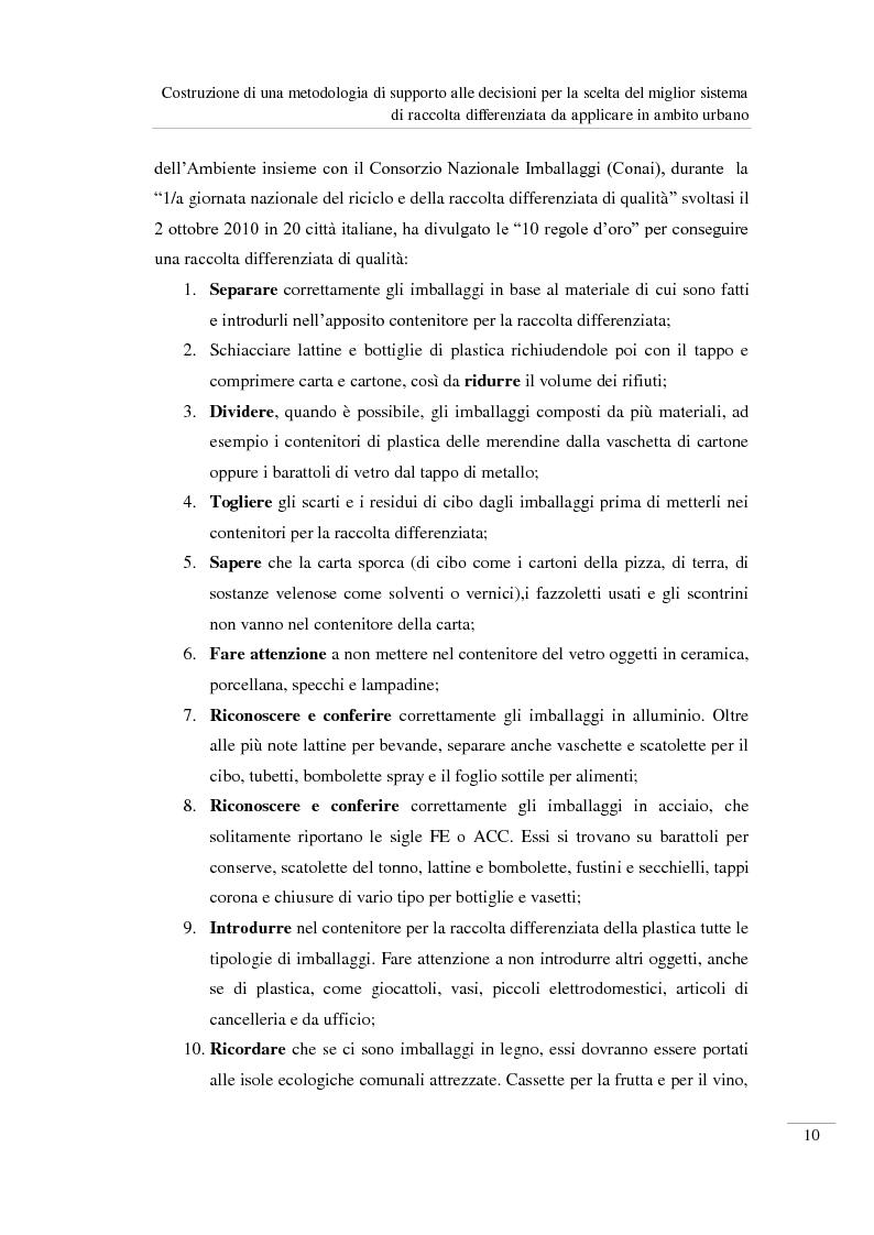 Anteprima della tesi: Costruzione di una metodologia di supporto alle decisioni per la scelta del miglior sistema di raccolta differenziata da applicare in ambito urbano, Pagina 11
